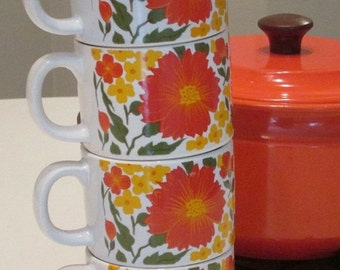 MOVING SALE Stackable Orange Floral Coffee Mugs. Made in Japan