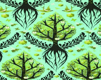 The Birds And the Bees by Tula Pink for Free Spirit - Tree Of Life - Pool - FQ - Fat Quarter - Cotton Quilt Fabric 516