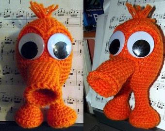 Qbert, a strange computer creature doll (handmade crochet)