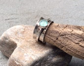Sea glass jewelry, Sterling silver and sea glass spinner fidget ring