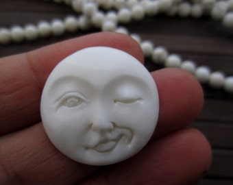 Winking Moon Face Cabochon,  25 mm Flat Back, Buffalo bone carving , Jewelry making Supplies S6787