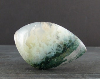 Free form  Green moss agate cabochon, Natural stone, Jewelry making supplies S6986