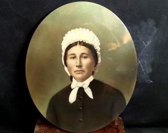 Large Antique celluloid Portrait of a Woman. Vintage picture frame