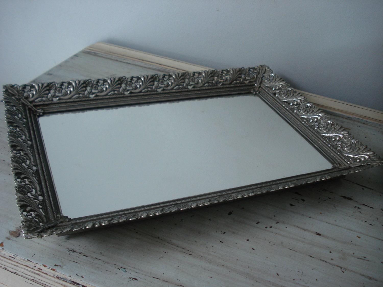 Large Silver Vanity Tray Vintage Vanity Tray Mirrored Vanity