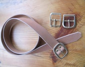 Leather Belt, 1  1/2 inch wide ,Natural