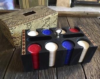 Vintage Poker Chip Caddy Snake Skin Poker Chip Caddy 1960's Poker Game Set Mid Century Poker Chip Caddy