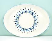 Vintage Swiss Chalet Platter / Oval Serving Plate / Marcrest Stetson Alpine Tree Pattern / Mid Century Turquoise Dish / Scandanavian Modern
