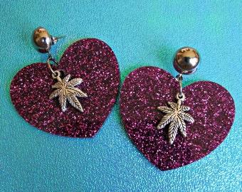 fuchsia glitter heart weed earrings