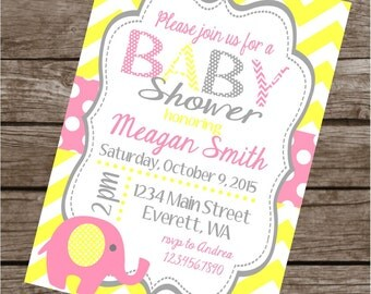 GIRLY ELEPHANT Happy Birthday Party or Baby Shower Invitations Set of 12 {1 Dozen} Pink Yellow Gray - Party Packs Available