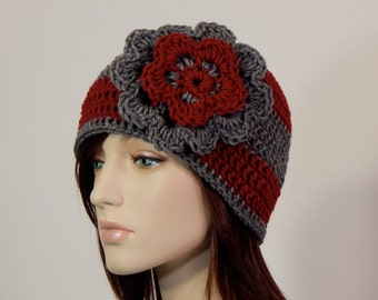 Teen Adult Red and Gray Flower Hat, Crimson and Gray Winter Hat, Ladies Winter Beanie Hat, Elegant Classic Hat, Ski Hat, Fashion Hat