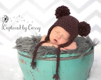 Handmade Baby Bear Hat, Newborn Earflap Beanie, Size PREEMIE - ON SALE