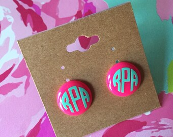 Pink and Mint Monogrammed Earrings//Circle Monogram