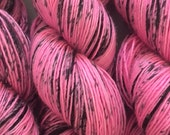 BE Happy! - Hot Pink with Black speckles - merino light singles yarn- hand dyed merino light single ply