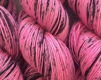 Merino Light Singles - BE Happy! - Hot Pink with Black speckles - merino light singles yarn- hand dyed merino light single ply