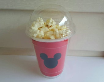 8 Mickey mouse popcorn boxes, containers, party favors with clear dome lid