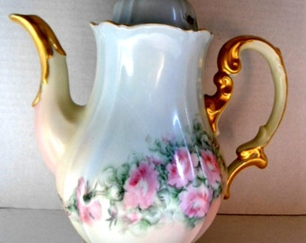 Antique Tea Pot / Coffee Pot marked Jacob Porzellan Bavaria Teapot Germany Victorian Hand Painted Home and Living Kitchen and Dining