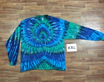 Tie Dye T-Shirt ~ Aqua Spider Spiral i1603 2XL Long Sleeve