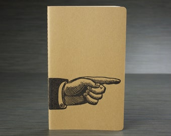 Look! Pointing hand on a craft travel journal -old advertising hand- index finger - medium journal with inner pocket. Free gift tag