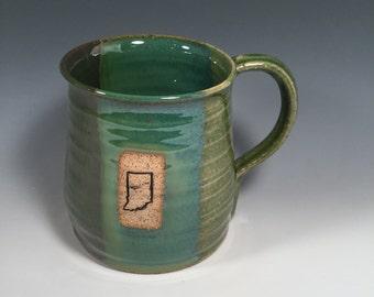 Mug -  Coffee  - Ready to Ship - Ocean green- Indiana bicentennial  - Indiana stamp  - ceramics - pottery - stoneware