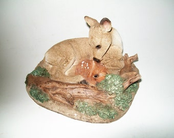 Vintage Deer Figurine Resin Deer with Baby American Classics Unite Design Made in USA