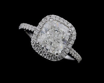 Diamond Halo Engagement Ring, 2CT Cushion Forever One Moissanite Ring, Floating Cushion Cut Ring, Micro Pave Set Diamonds Platinum Ring