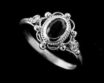 Victorian Style Reproduction Diamond Oval Black Diamond Engagement Ring 14k Gold