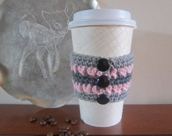Grey Stripe Coffee Cozy with Buttons, Crochet Pink Cozy, Button Cozies, Cozies Crocheted, Grey and Pink Cozy, Coffee Sleeves, Sleeve for Cup