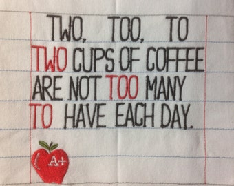 Embroidered Towel -Funny Grammar - Funny Teacher - Funny Towel – Teacher - Back to School  – Kitchen Décor - Teacher Gift - Kitchen Towel