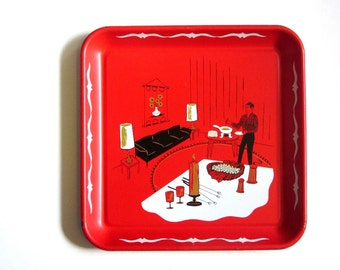 Retro Red 60's Bar Serving Tray Cool Dude Graphics Fondue Drinks Candlelight Atomic Party For Two Drink Appetizer Tray