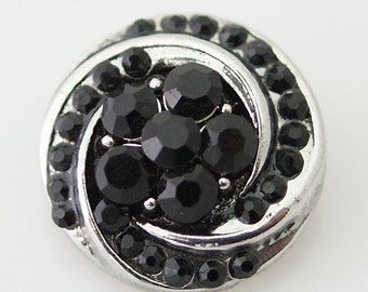 1 PC - 18MM Black Rhinestone Silver Candy Snap Charm kb7404 CC1320