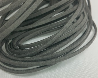 5 YARDS - 15 FEET Gray Faux Suede Cord Leather Lace Ribbon Soft 3mm x 1.5mm #49