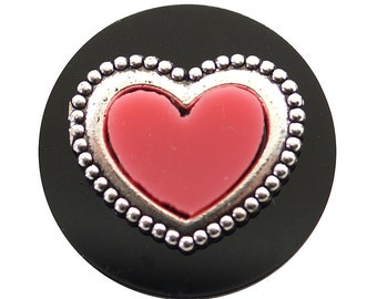 1 PC - 18MM Heart Silver Snap Candy Charm kb6842 CC1980