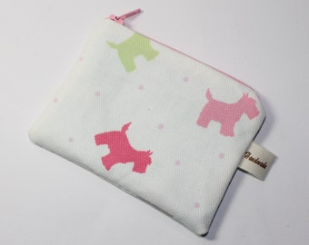 Coin purse, cream with Scottie dogs print