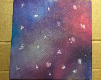 Mini Canvas, Hand Painted, Galaxy, Stars