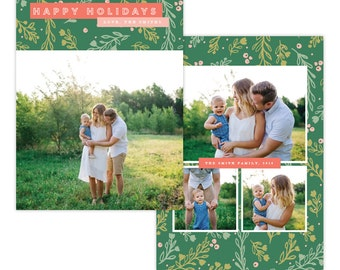 INSTANT DOWNLOAD - Christmas Holiday Card Photoshop template - E1367