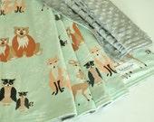 Gender Neutral Baby Blanket-Bear Deer Fox Baby Blanket, Oh Hello Bear in Meadow Minky backed blanket, Blanket gift set