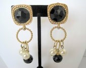 Carol Dauplaise Earrings - Black Bead and Pearl - Gold Tone Dangles - Signed clip ons