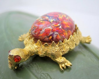 Turtle Brooch - Red Glass Cabachon - Numbered Art Glass Turtle Pin