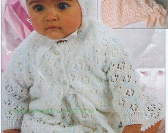 Baby 4 ply Sports Wight  Matinee Jacket, Dress Bonnet & Bootees 16 - 20 ins - PDF of a Vintage Knitting Pattern - Instant Download