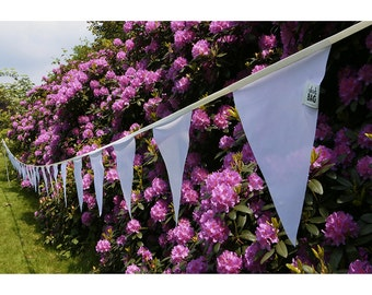 White bunting flags - outdoor bunting waterproof fabric banner, pennant flags, 14+ meters - 12.5+ yard