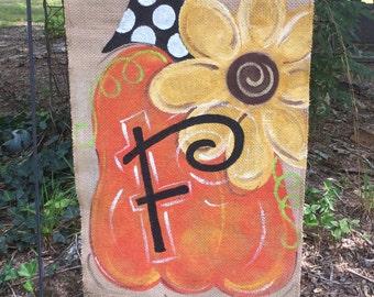 Handpainted Burlap Garden Flag ...Halloween or Fall Pumpkin with Sunflower Garden Flag!