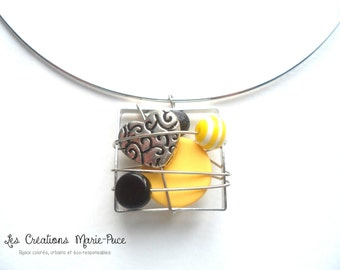 Abstract Pendant, Abstract Choker, Abstract Necklace, Silver Necklace, Yellow necklace, Black Pendant, Heart Pendant, Silver Choker