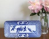 Vintage Blue White Asian Tray Rectangular Dish Chinoiserie Chic Decor