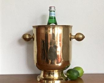 Vintage Brass Champagne Bucket Wine Chiller Gold Metal Bar Decor
