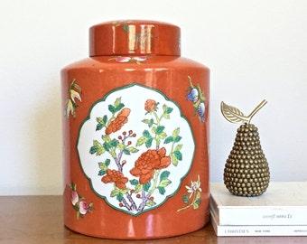 Vintage Ginger Jar Orange Asian Porcelain Ware Large Potiche Jar Palm Beach Chic