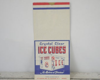 5 NOS Vintage Paper Ephemera Crystal Clear Ice Cube Paper Bags Excellent Condition