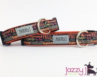 Black Glitter Fall Words Dog Collar
