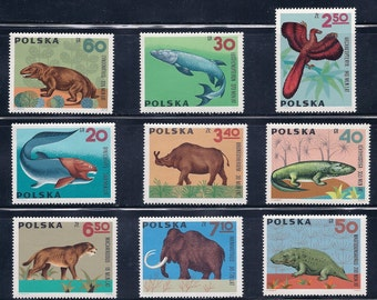 Prehistoric Animals and Dinosaurs - Vintage Stamps - Poland 1966 - Collectibles, Supplies