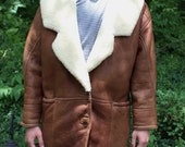 Italian Leather Jacket- Vintage pebbled leather & shearling- Men's M/L coat- by Vinci- Fatto in Italia- Bomber Style Jacket- Heavy Unisex