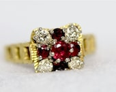 VALENTINES DAY SALE Victorian Ruby Garnet Diamond Etruscan Revival 18k Yellow Gold Ring 1890s Etruscan Engagement Ring Promise Ring